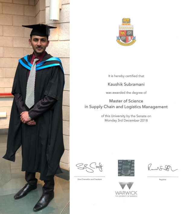 Master of Science in Supply Chain and Logistics Management from the University of Warwick UK